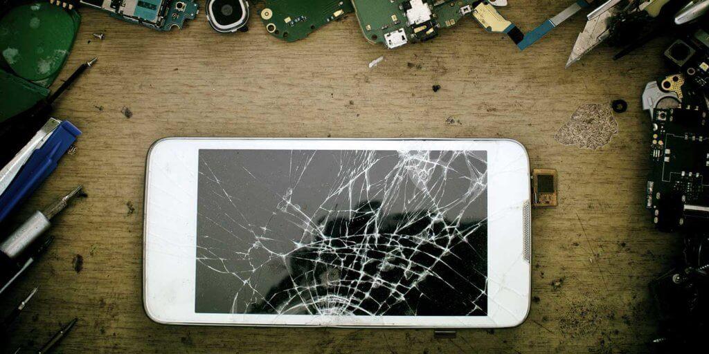 Smartphone with a broken screen