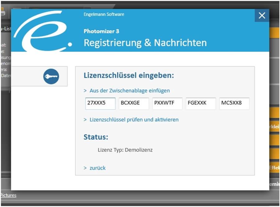 Screenshot: Lizenzschlüssel eingegeben
