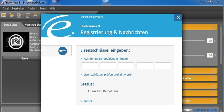 Screenshot Aktivierung von Engelmann Software