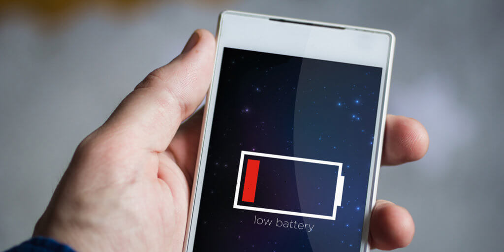 Low Battery beim Smartphone Akku - nur noch ein roter Strich